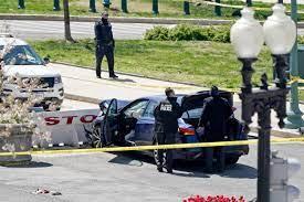 Blue car slams into barrier near Capitol.
